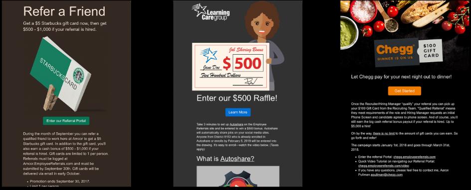 example micro rewards - starbucks, $500 raffle, chegg